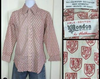 deadstock 1970's Dragon Phoenix Shield Mythology Patterned Mens shirt size 15-32 medium Tapered Novelty Print London Shop cream red nos