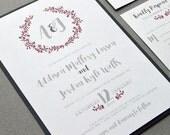 Laurel Wedding Invitation Suite, Grey and Cranberry Wedding Pocket Invitations, Winter Wedding Invite Set, Monogram Wedding Invites Rustic