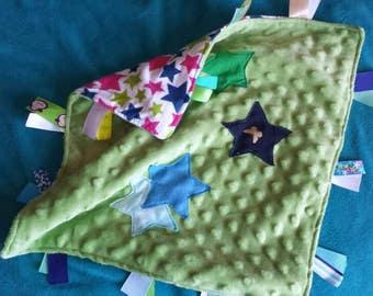 Baby Lovey Star Soft Green Minky Unlooped Ribbons