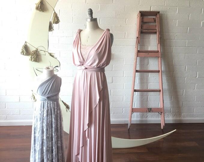 Sahara Rose Gold Blush~ TULIP PETAL CUT~ Long Octopus Infinity Wrap Gown~ Bridesmaids, Wedding, Maternity, Special Occasion