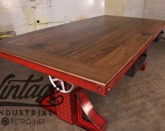 Vintage Industrial Crank Desk / Bronx Adjustable Height Table
