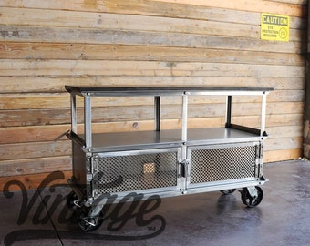 vintage industrial kitchen island / antique cart / utility