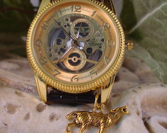 Steampunk Watch Gold on Gold - See Thru - Looks Like Mechanical Wrist Watch - Wolf Charm - Skeleton Dial   A 388