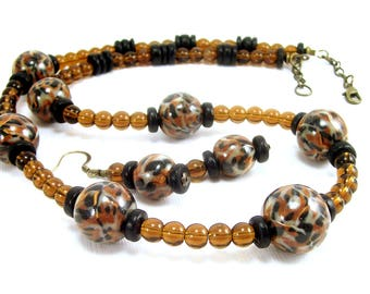 Animal Print Beaded Necklace with Free Earrings, Polymer Clay Jewelry