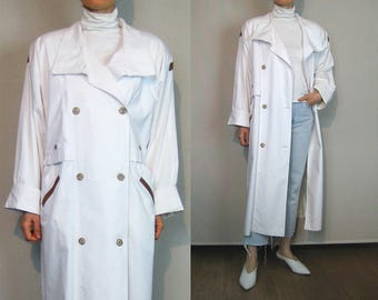 Oversized White Cotton + Leather Trench Coat / 80s White Trench Coat / Double Breasted Trenchcoat / Minimalist Coat
