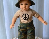 18 Inch Doll Clothes, Boy or Girl, Three Piece Outfit, Camouflage Cargo Pants, Peace Symbol Tshirt, Camouflage Bucket Hat by SEWSWEETDAISY