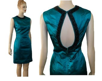 M Beaded Vintage 60's Green Silk Cocktail Dress, Keyhole Back Dress, Medium, 8
