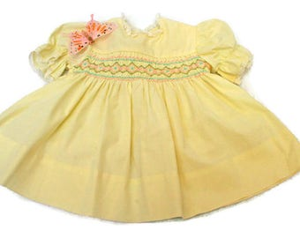 Vintage Baby Dress  /  (c. 1950's)  /  Handmade Yellow Dress with Smocking  /  Infant Girl  /  Baby Shower Gift