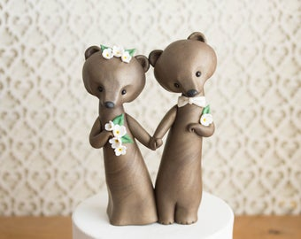 Brown Bear Wedding Cake Topper - Bride and Groom Bears by Bonjour Poupette