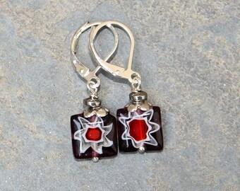 Flower Earrings, Glass Earrings, Purple Earrings, Red Earrings, Red Flower Earrings, Spring Earrings, Bohemian Earrings, For Her
