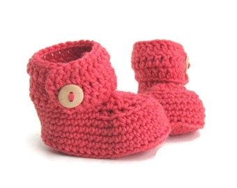 Pink Crochet Baby Booties Merino Wool Newborn Crib Shoes Baby Slippers Knitted Baby Booties Girl Baby Shoes Baby Gift Warm and Woolly Etsy