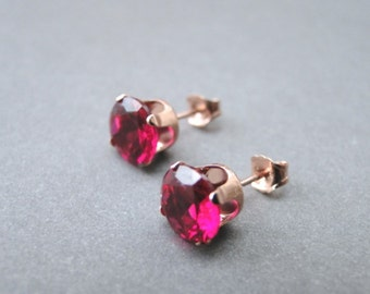Deep Red Fuchsia Swarovski Crystal Studs / Stud Earrings / Swarovski Studs / Rose Gold Setting / Deep Red Crystal Earrings Set in Rose Gold