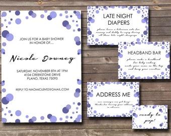 purple monochromatic dots printable baby shower complete invitation set