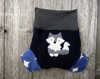 Upcycled Wool Soaker Cover Diaper Cover With Added Doubler Navy Blue /Gray With A Wolf Applique LARGE 12-24M