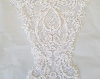 Beaded white bridal lace appliques for collars, accessories, embellishments and more 10 WHOLESALE