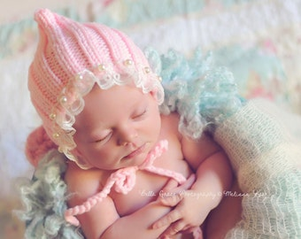Pink Lace Pearl Cotton Knit Baby Bonnet Newborn Photography Prop