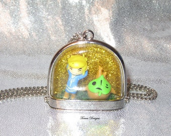Toon Link and Makar in Glass Dome Pendant Necklace Legend of Zelda Wind Waker Custom OOAK One of a Kind by TorresDesigns Ready To Ship