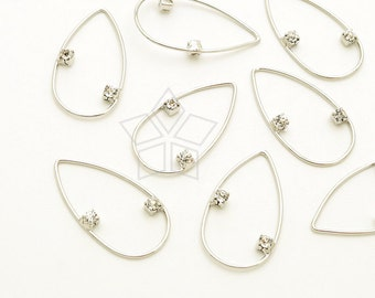 AC-614-OR / 4 Pcs - Thin Wire Drop Pendant, Drop Hoop Pendant, Rhinestone Drop, Silver Plated over Brass / 11mm x 20mm