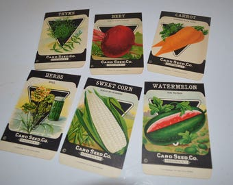 Vintage seed packets X 6 - vegetable - herbs - paper package - graphics are nice