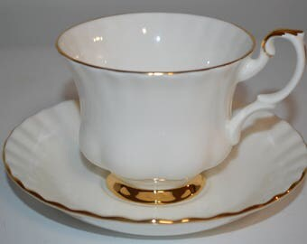Royal Albert tea cup and saucer Val D'or - wedding white teacup beautiful