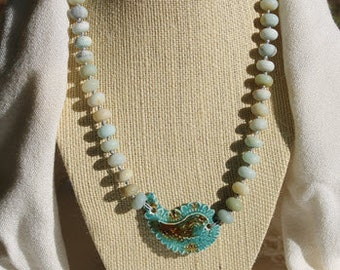 Amazonite Necklace with Ceramic Paisley Focal