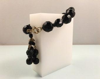 50s Beaded Bracelet, Vintage Jewelry, Vintage Black & Gold Bracelet, Crystal Bracelet, 1950s Bracelet, Tassel Bracelet, Mid Century Jewelry