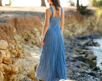 Long Denim Blue Linen Dress / Maxi / Summer Dress / Pure Linen / Crinkled Linen / Boho Beach Dress / Hand Made/ Womens Dress