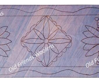 Tulip Pot Table Runner Pattern on primitive linen foundation