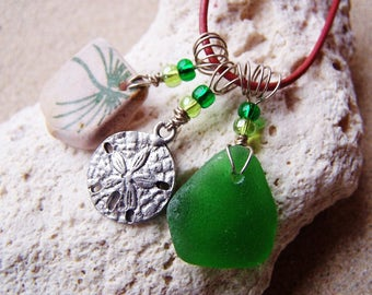 "Beach Glass Necklace-Green ""Treasures from the Sea"" Green Sea Glass, Surf Tumbled Potter, and Sand Dollar Components on Leather Cord M 15"