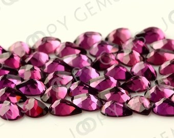 Rhodolite Garnet Honeycomb Faceted Pear Cabochon 7x5mm - 1 cab