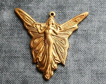 Raw Brass Fairy Charm Large Art Nouveau Angel - Set of 6