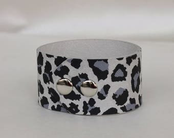 Leather Cuff Bracelet Leopard Print Genuine Leather Gray Tones Leather Cuff