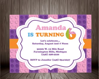 Printable Digital Lego Inspired Girl Birthday Invitation Design, Birthday Party Invite, Friends Lego Theme