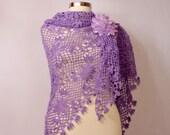 Lilac Crochet Shawl, Lace Shawl, Purple Wedding Wrap Shawl, Wedding Bolero Shrug, Fashion, Lavander Linen Flower Shawl Bridal Accessories