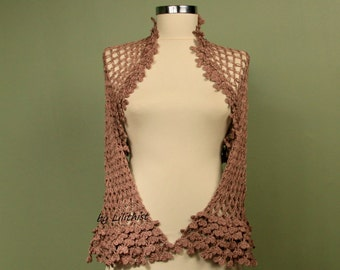 Crochet Shrug, Mocha Shrug, Crochet Bolero,  Wedding Bolero Bridal Shrug, Cotton Cover Up, Crochet Bolero, Dancer Shrug, Women Fashion