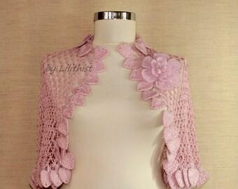 Bolero and Shrug, Pink Shrug, Crochet Bolero, Lace Bolero, Cape, Flower Shrug, Bridal Shrug, Wedding Bolero, Cover Up, Crochet Wear / S-M-L