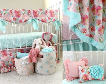 Pastels and Peonies Accessories Aqua and Pink Bumperless Baby Girl Bedding Set Extras
