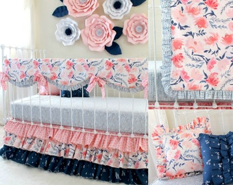 Watercolor floral crib bedding, Pink and Navy baby bedding, blush pink nursery bedding, baby girl bedding, bumperless crib bedding for girls