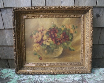 1890s Pansies Oil Painting in Shabby Gilt Gesso Frame Marston & Gorham Bangor Maine Label