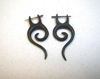 Fake Gauge Pierced Earrings Dark Brown Black Wood Spiral Ethnic Inspired