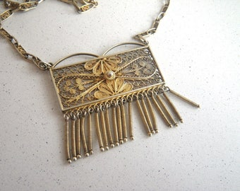800 Silver Fine Filigree Wire Necklace with Fringed Pendant - Gold Wash