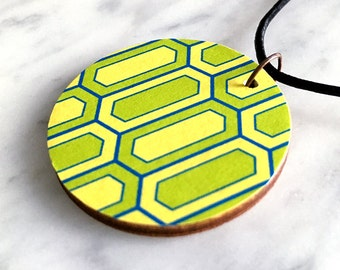 Wooden pendant, circular, geometric honeycomb pattern in yellow, lime-green & blue, fashion accessory, leather cord, style 63