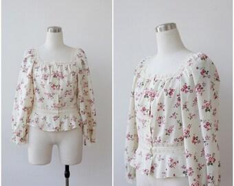 Prairie Cream Floral Blouse Lace Boho Top Button Front Cotton Top S M