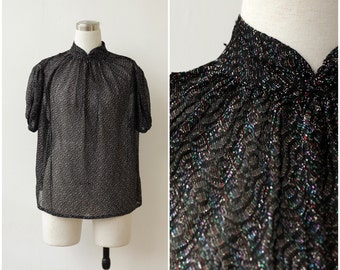 1970's Sparkly Top Black Evening Blouse Shimmering Women's Party Shirt Disco Evening Top