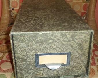 Vintage Green Marbleized File Drawer Box Cabinet Index Card File