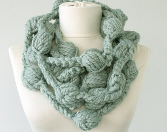 Chunky crochet necklace scarf artist own design aod sage green scarf statement necklace christmas gift for her fall  fashion accessories