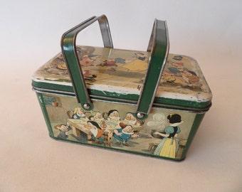 "Rare 1939 Walt Disney Tin Lunch Box ""Snow White and the Seven Dwarfs"" Belgium"
