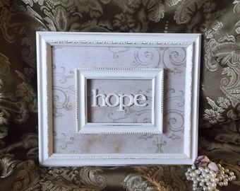 HOPE Assemblage wall decor, distressed, Wall art, home Decor, white and tan
