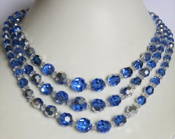 Vintage blue glass bead necklace. 3 row necklace.  3 strand necklace