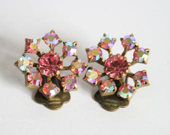 Vintage pink Austrian crystal earrings.  Clip on earrings.  Vintage jewellery